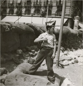 Boy in the uniform of the Iberian Anarchist Federation, during the Spanish Civil War, August 1936. Photo by Gera Tardo.